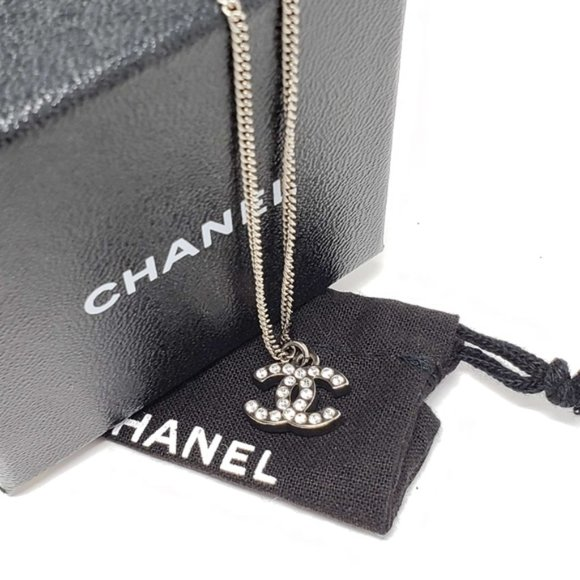 Authentic Chanel CC Necklace Silver Color